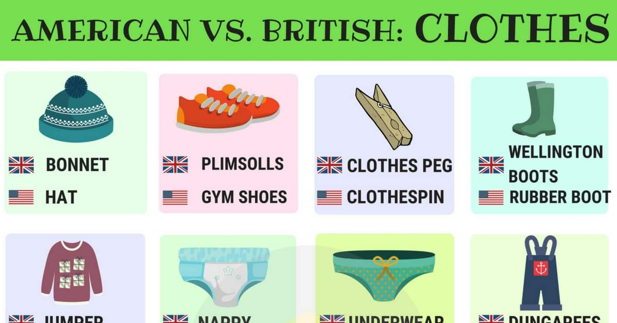 American and British Words for Clothes | 15 Differences Illustrated