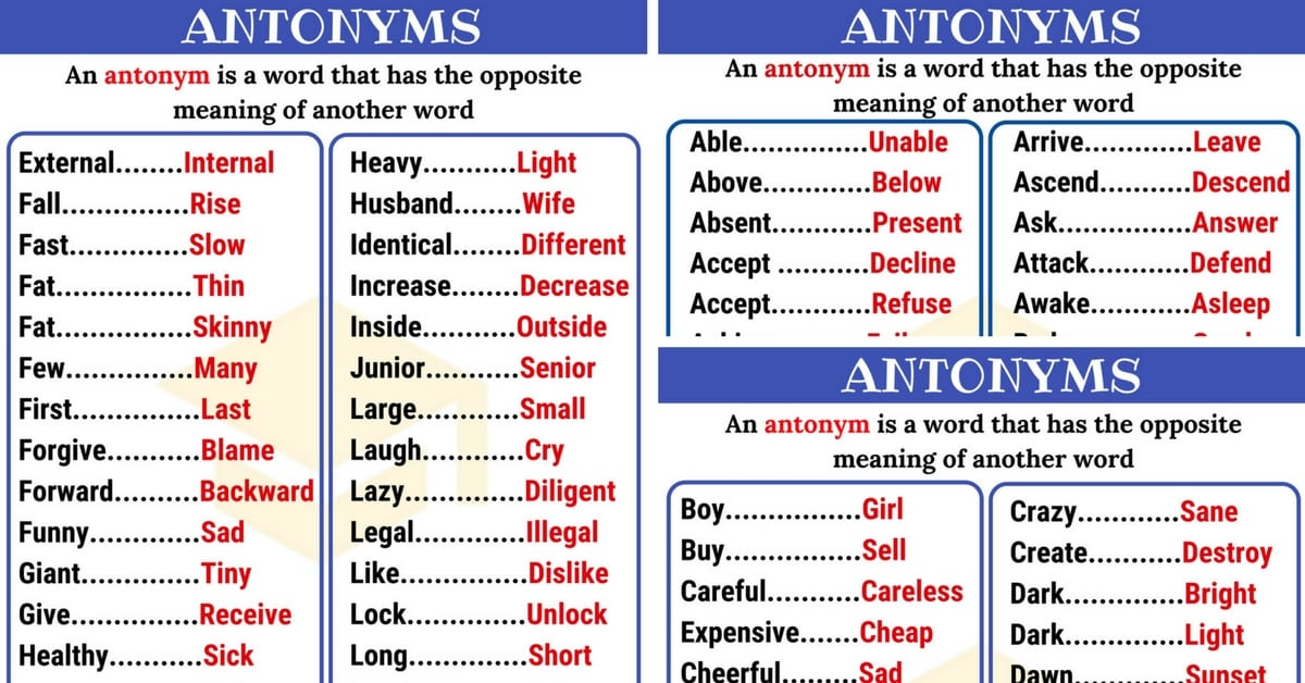Opposites: List of 300+ Antonyms from A-Z with Examples 8