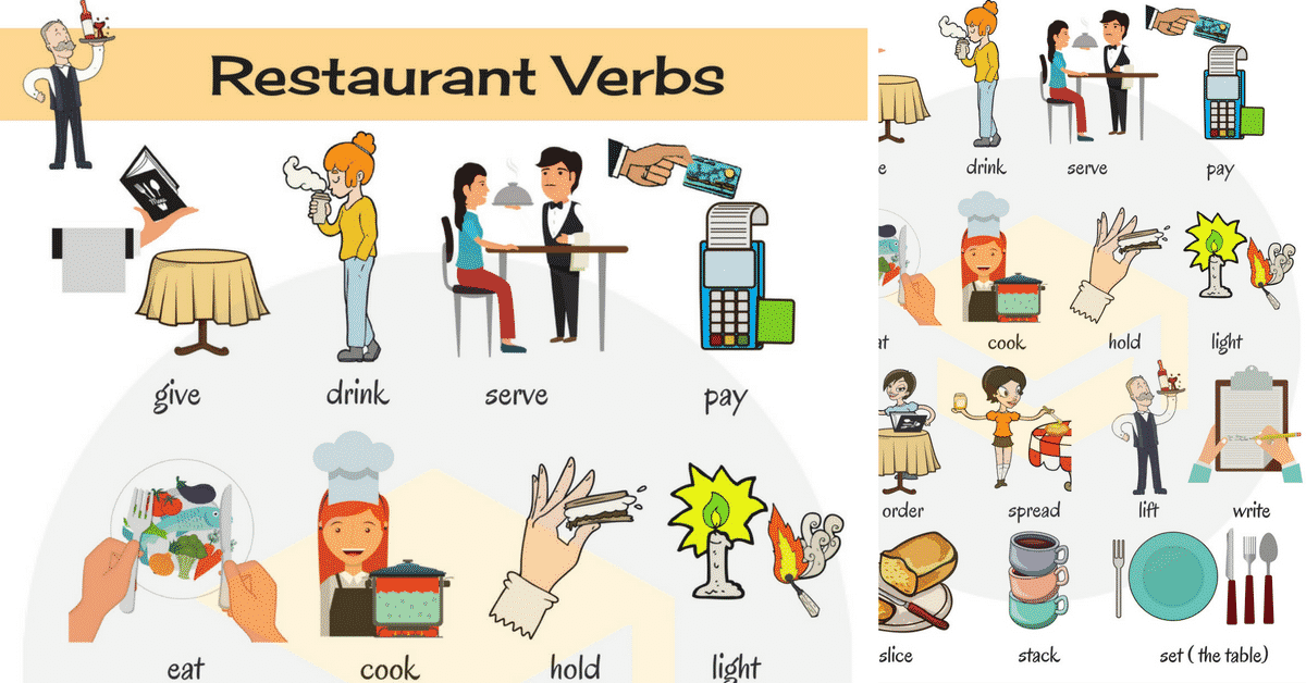 Restaurant Verbs in English | At a Restaurant Vocabulary 1
