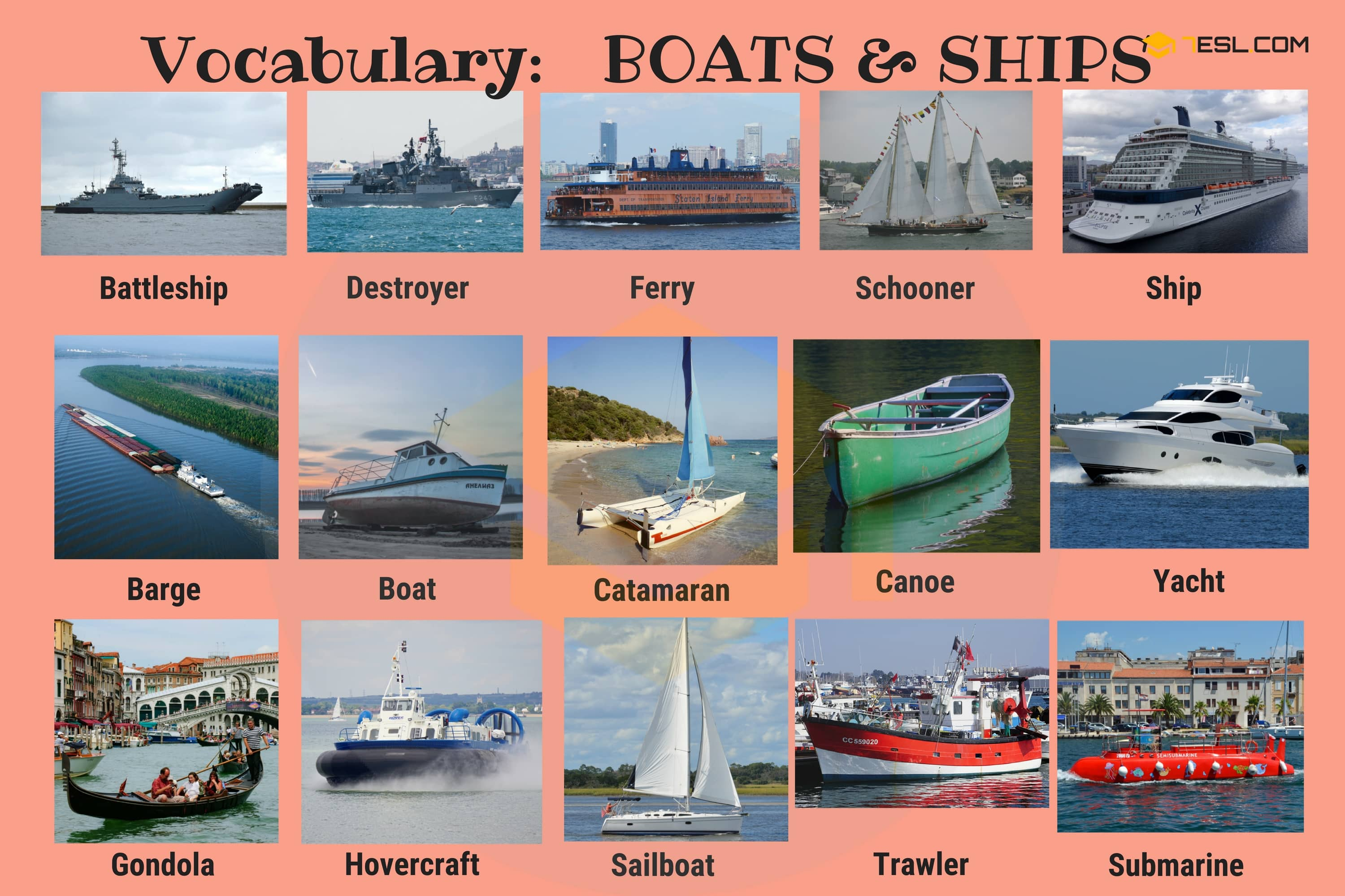 English Vocabulary: Types of Ships and Boats (with Pictures)