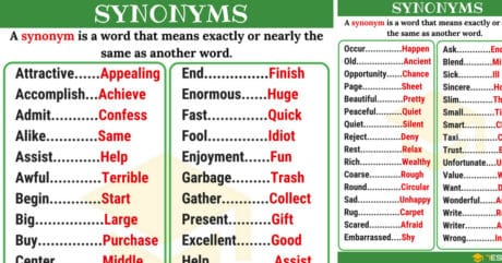 List of 250+ Synonyms in English from A-Z with Examples 4