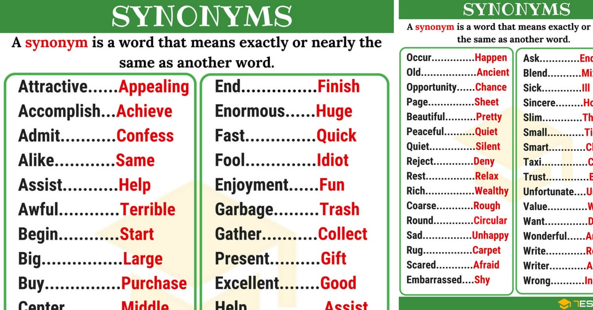 Synonym List Of 250 Synonyms From A Z With Examples 7 E S L