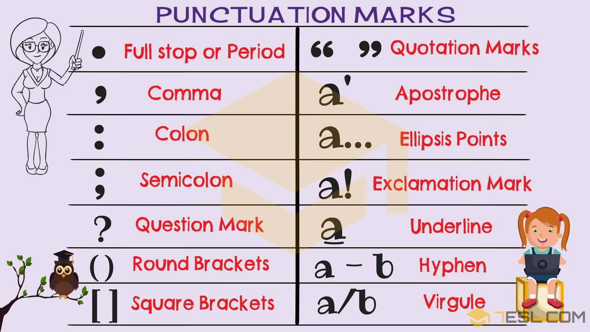 punctuation marks names rules useful examples 7 e s l. Black Bedroom Furniture Sets. Home Design Ideas