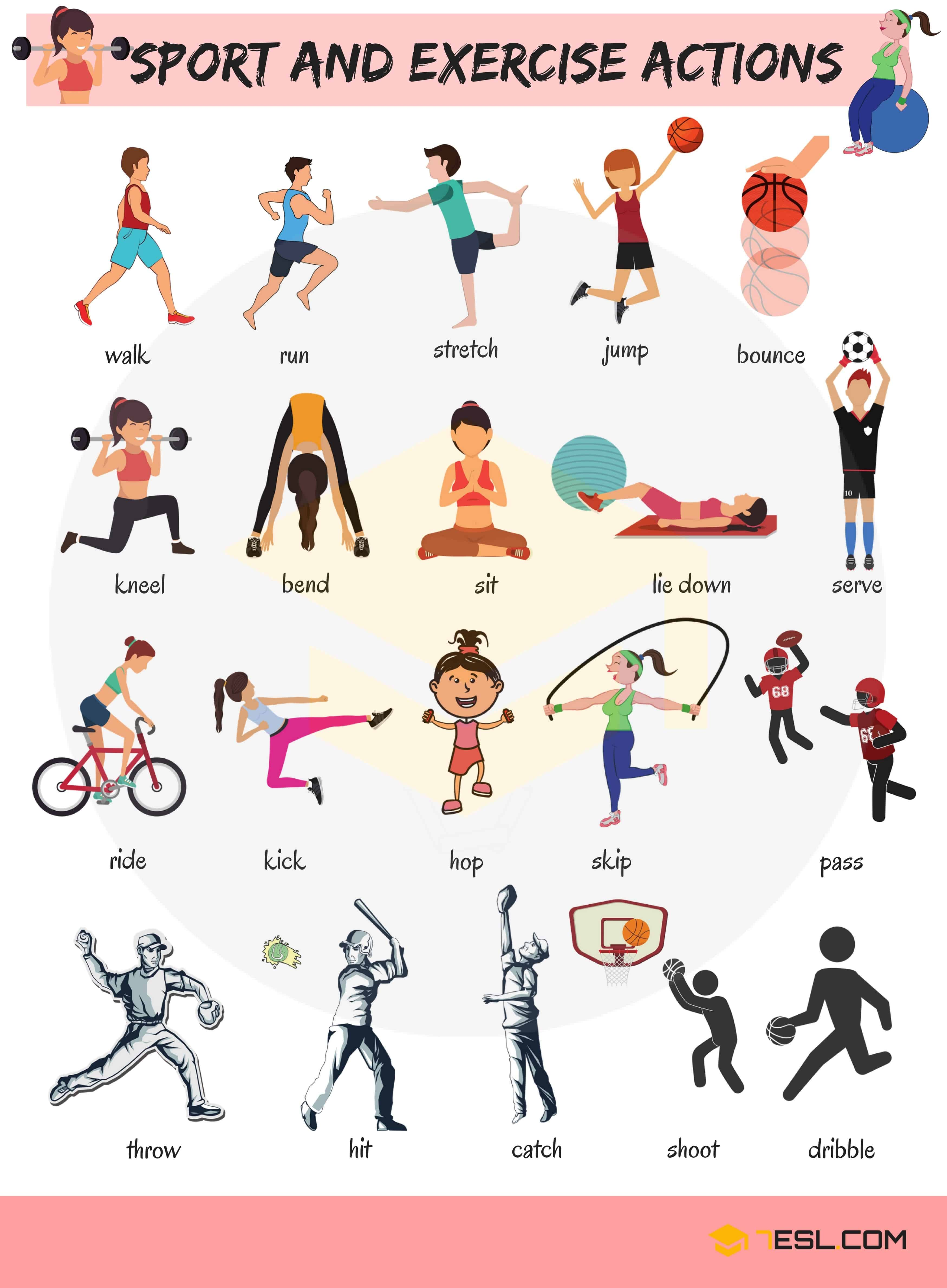 Sport and Exercise Verbs Images