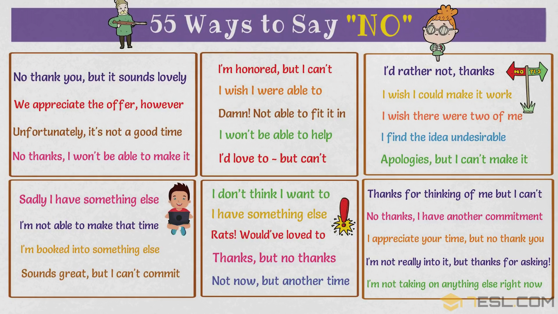 NO Synonym: 55 Alternative Ways To Say NO to People