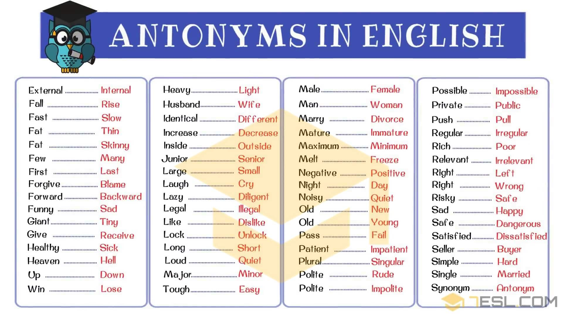 Opposites: 300+ Antonyms List from A-Z with Examples - 7 E S L