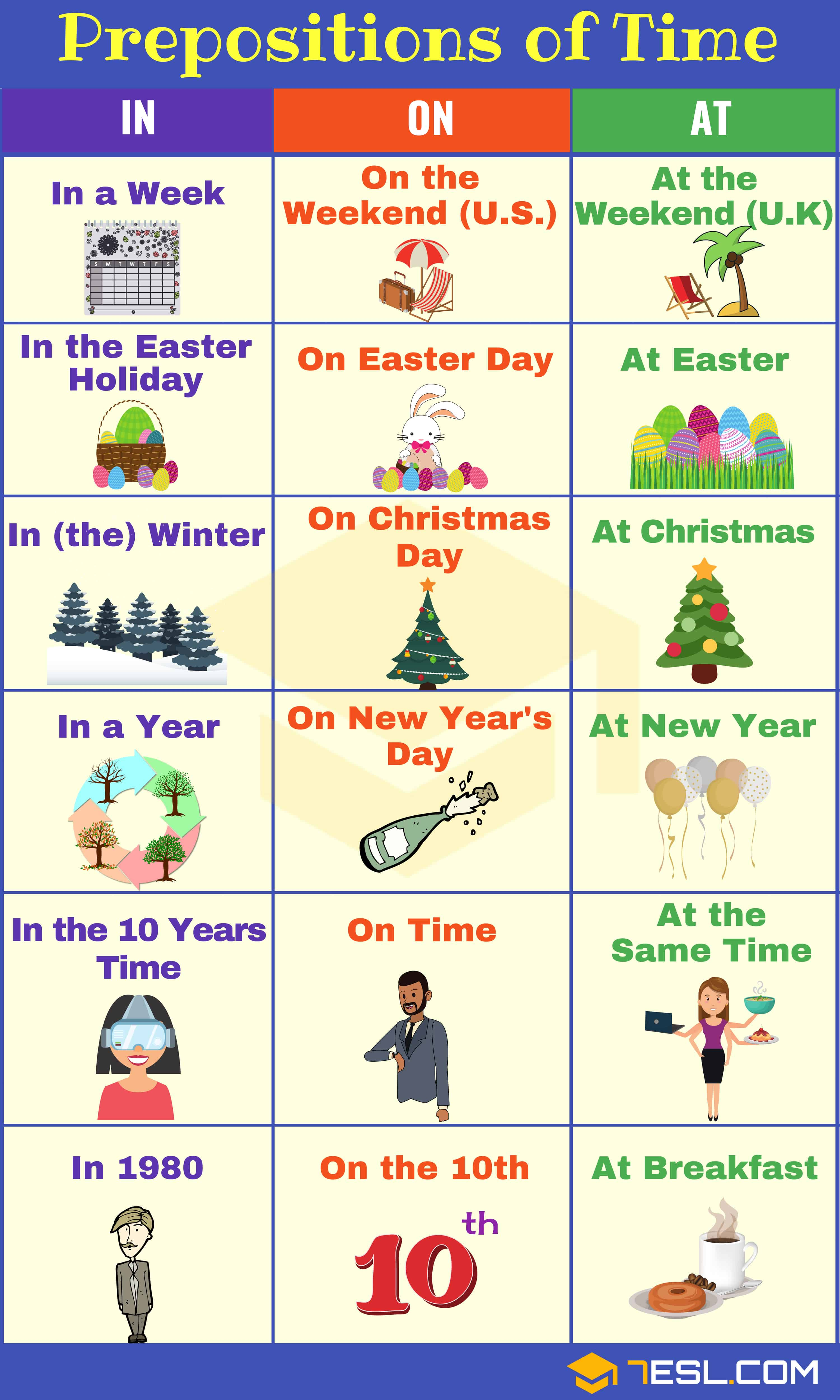 Prepositions of TIME AT-IN-ON