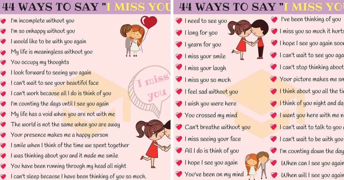 44 Other Ways to Say I MISS YOU in English 1