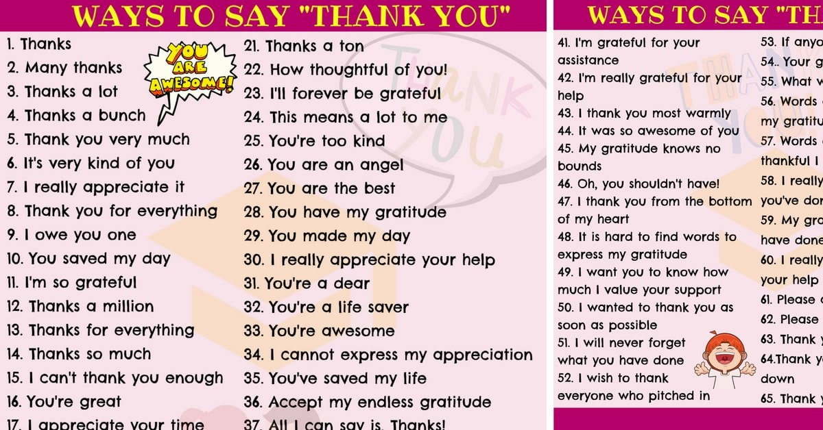 65 New Ways for Saying THANK YOU in English 1