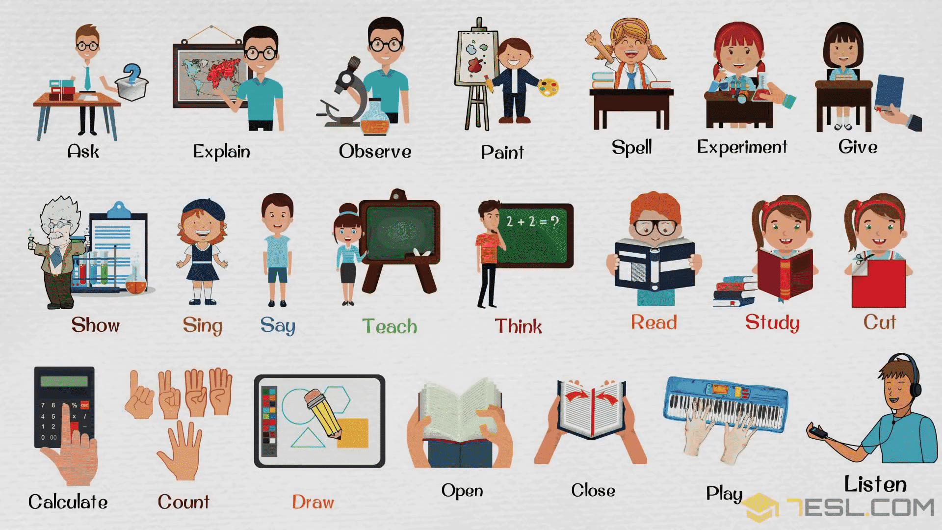 Classroom Verbs for Kids