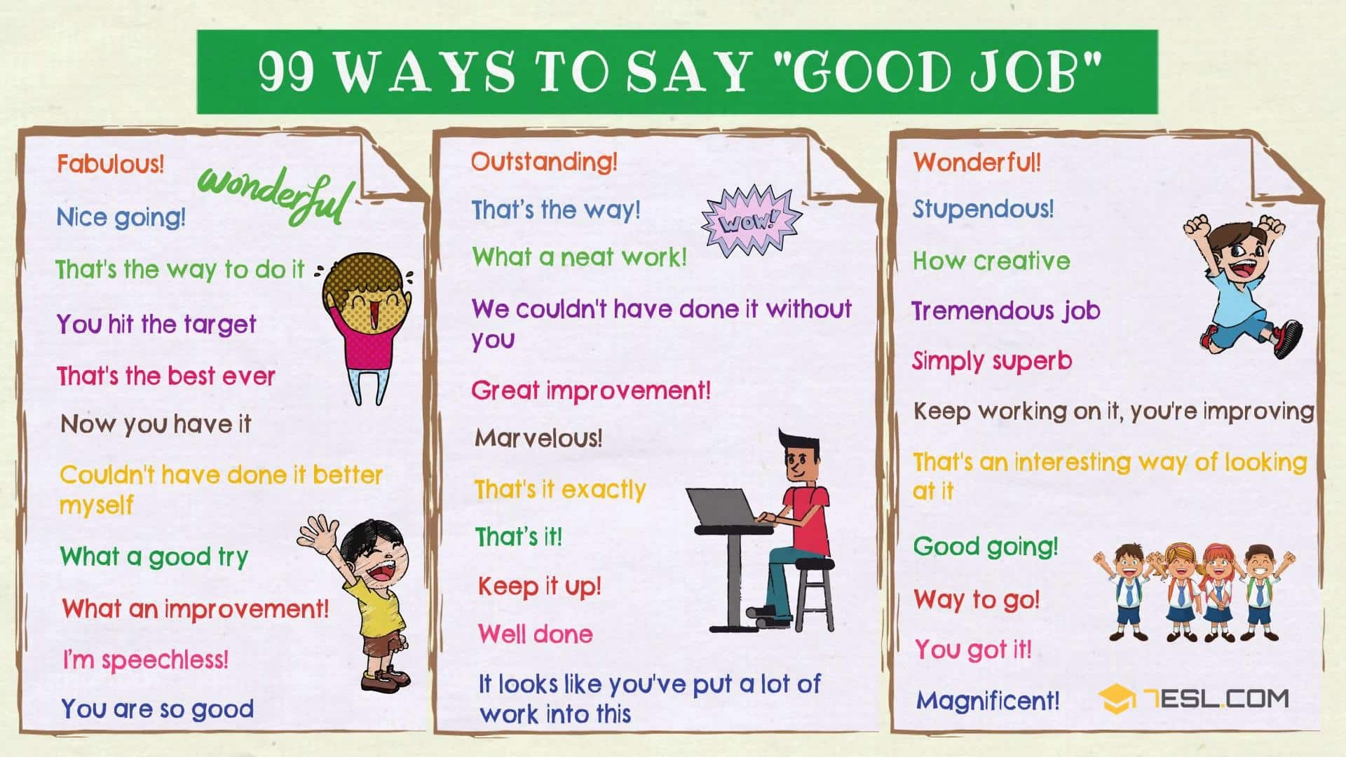 Good Job Synonym: 99 Ways to Say GOOD JOB in English