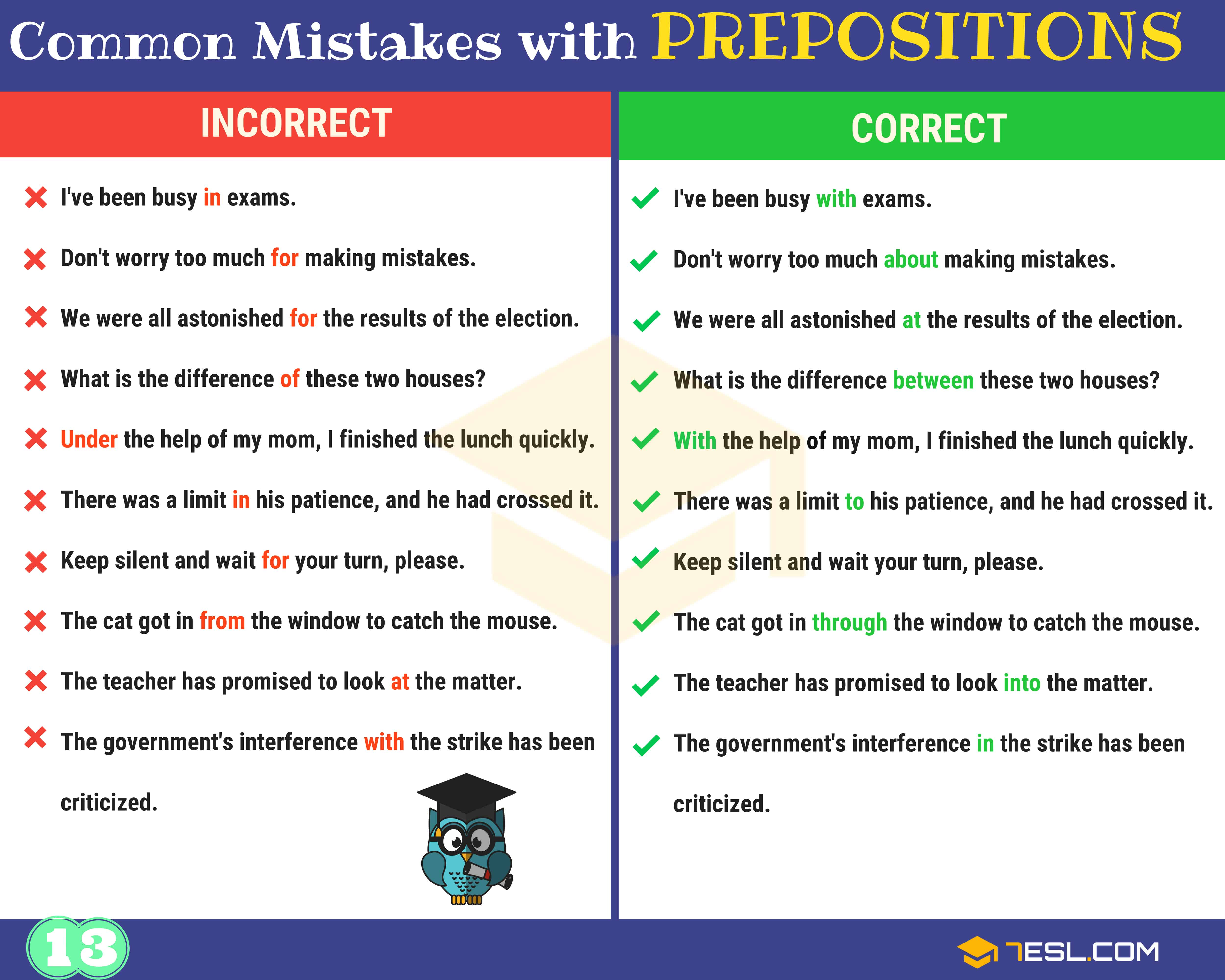 130+ Common MISTAKES With PREPOSITIONS And How To Avoid Them 14