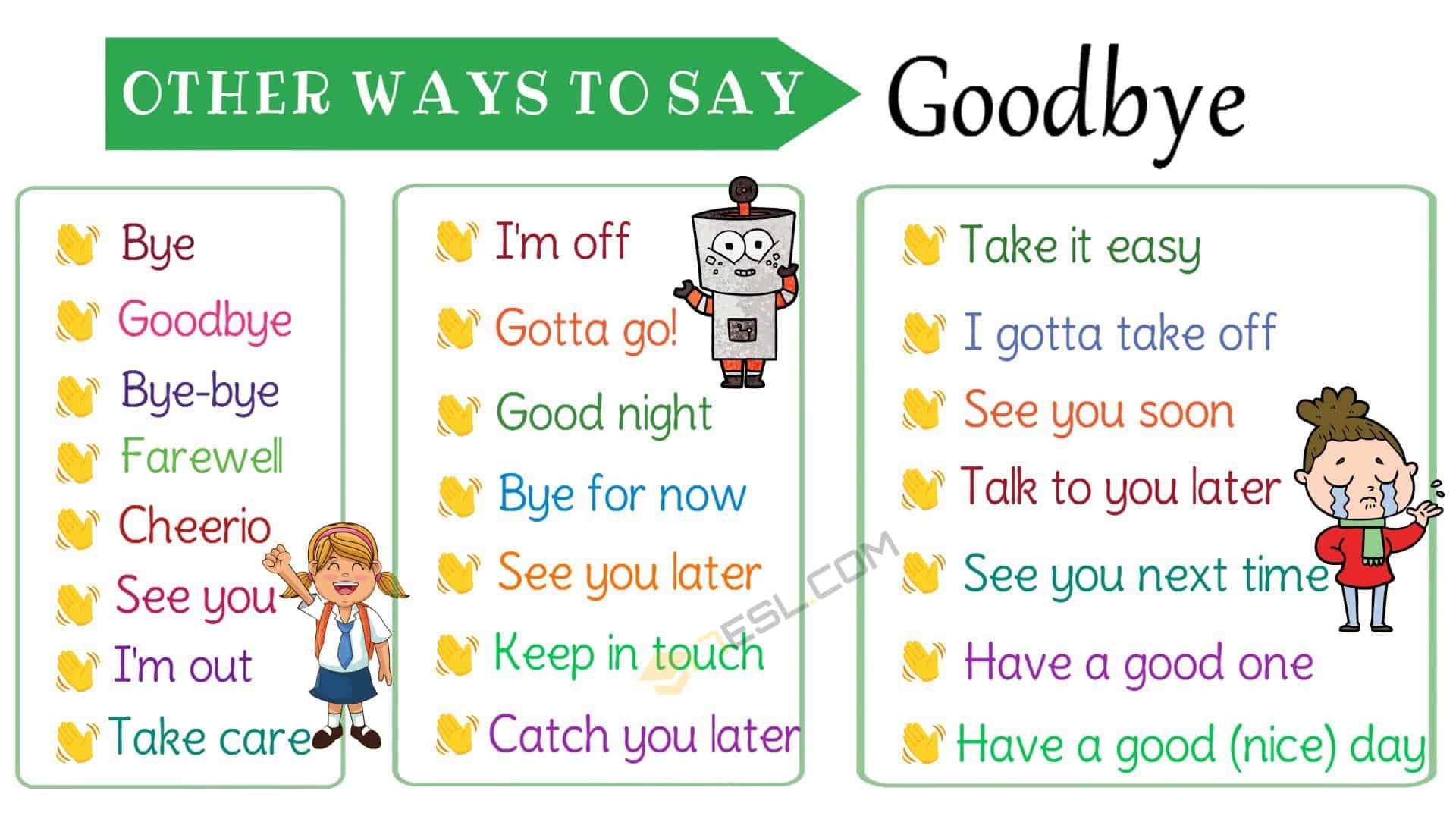 Ways to Say Goodbye in English | Goodbye Synonyms Image