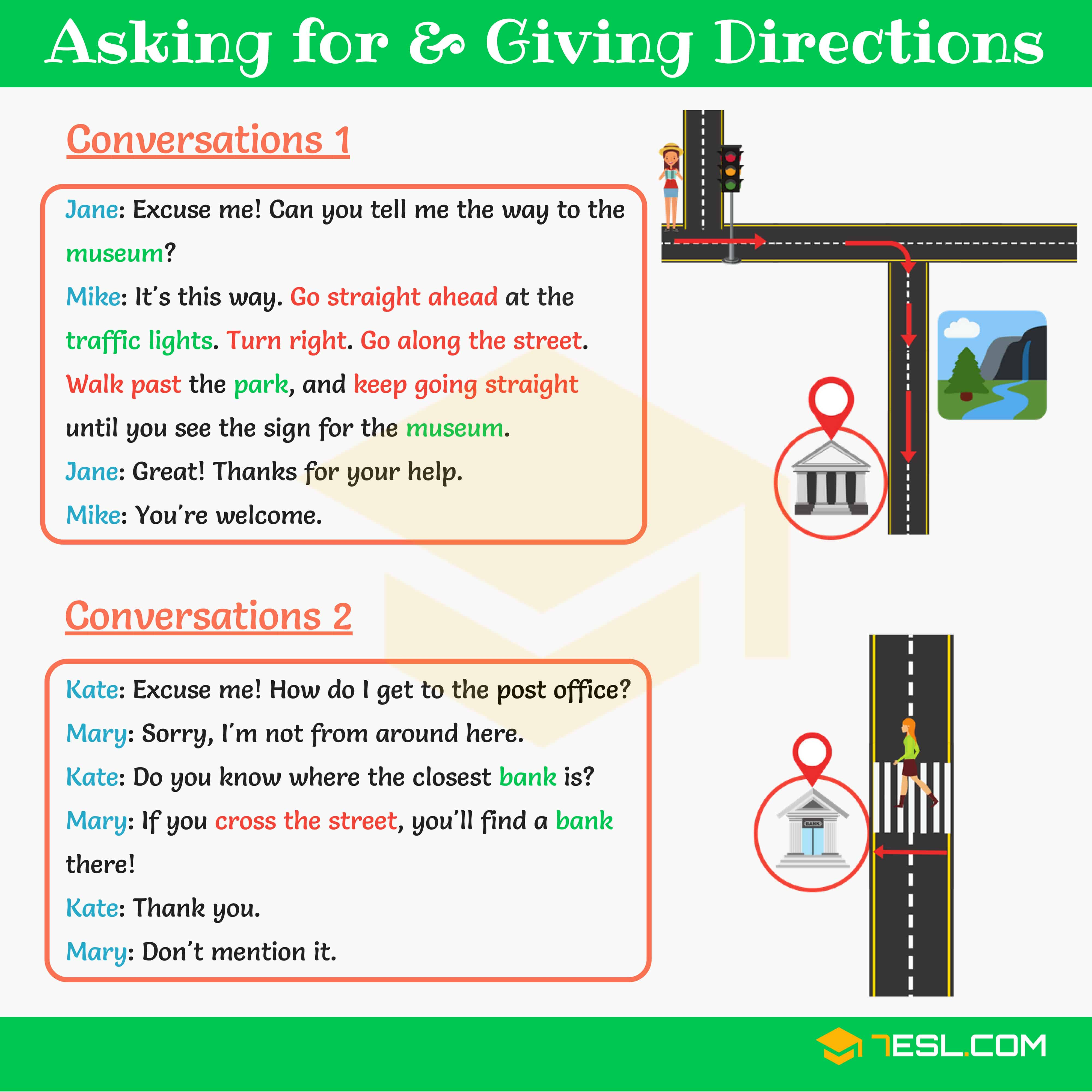 Asking for and Giving Directions | English Conversations