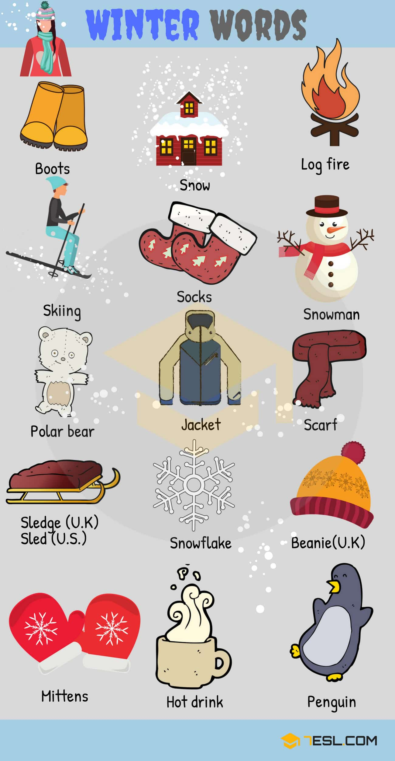 Winter Words: Useful Winter Vocabulary with Pictures