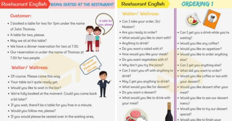 Restaurant English: Useful Expressions Used at a Restaurant 92