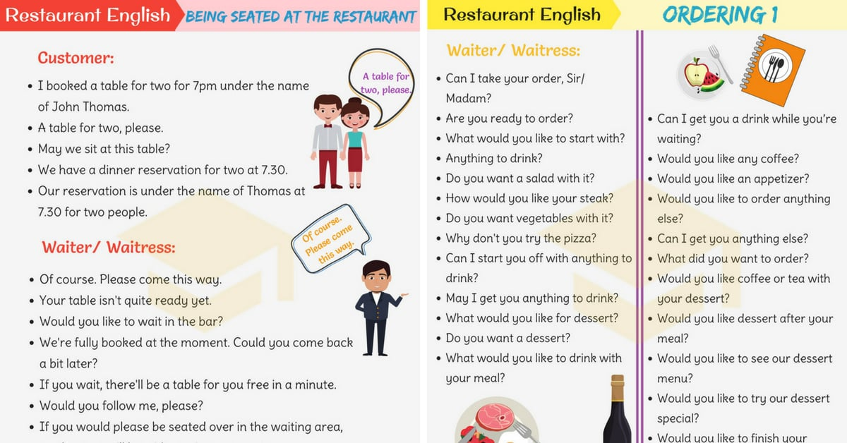 Restaurant English Useful Expressions Used At A Restaurant 7esl