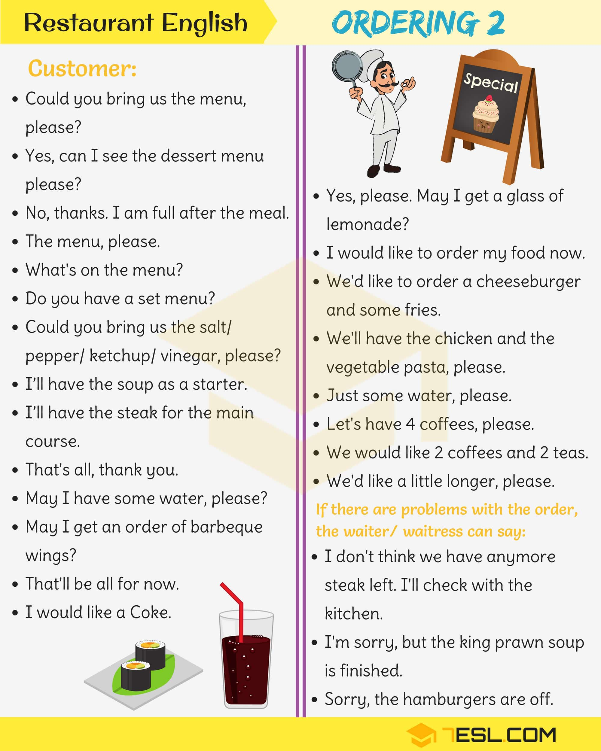 Restaurant English: Useful Expressions Used at a Restaurant 4
