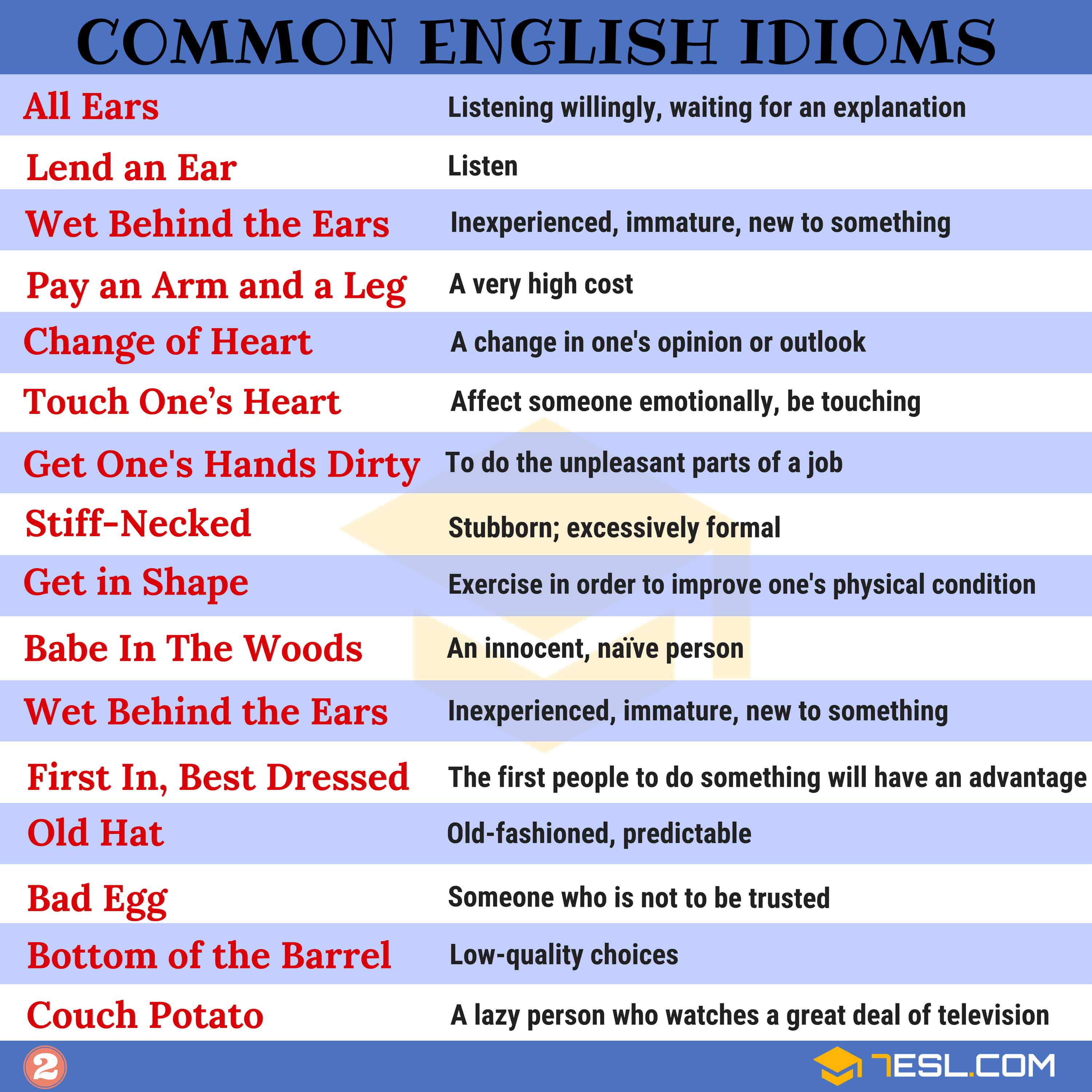 2000+ Common English Idioms and Their Meanings 6
