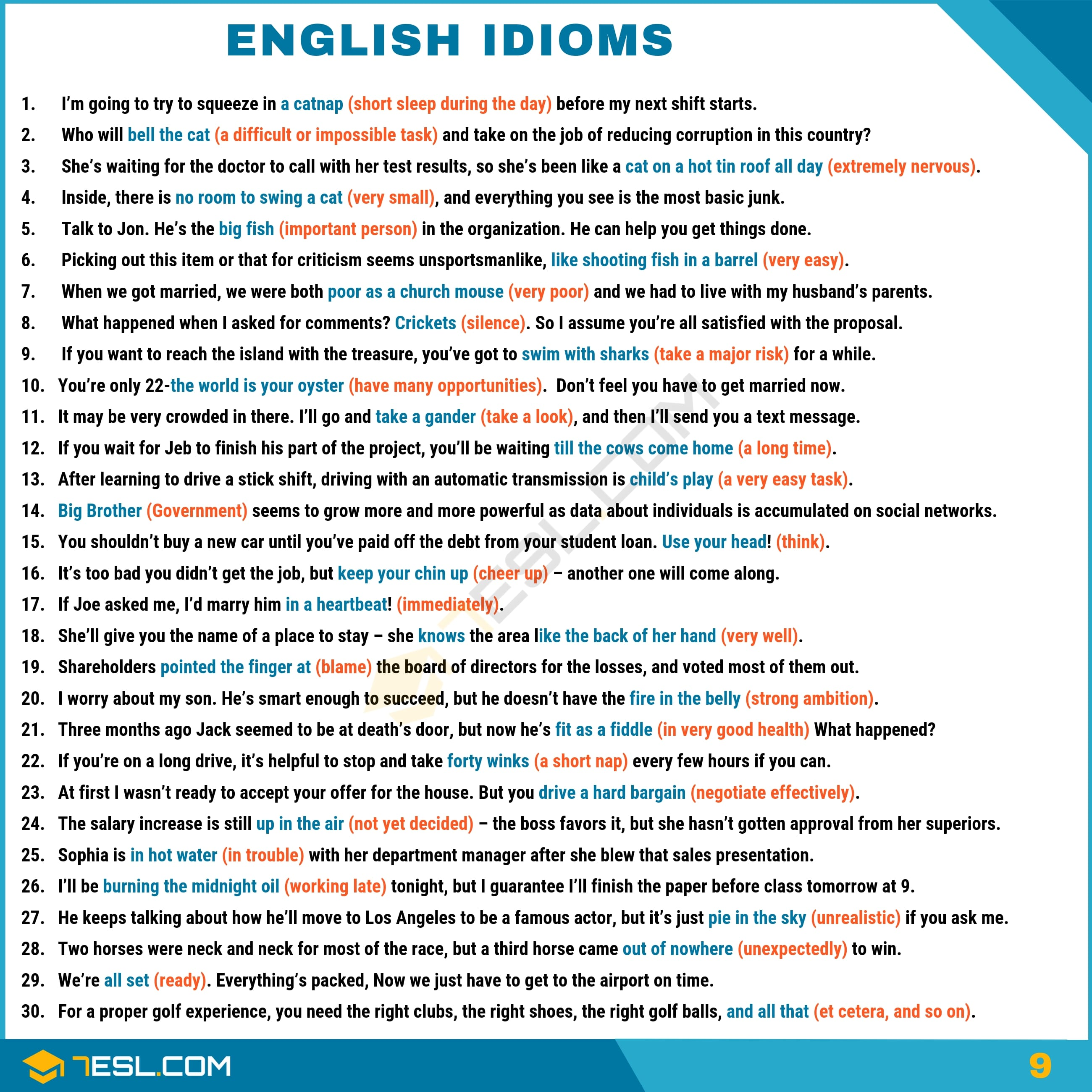 Idioms 1500 English Idioms From A Z With Useful Examples 7 E S L