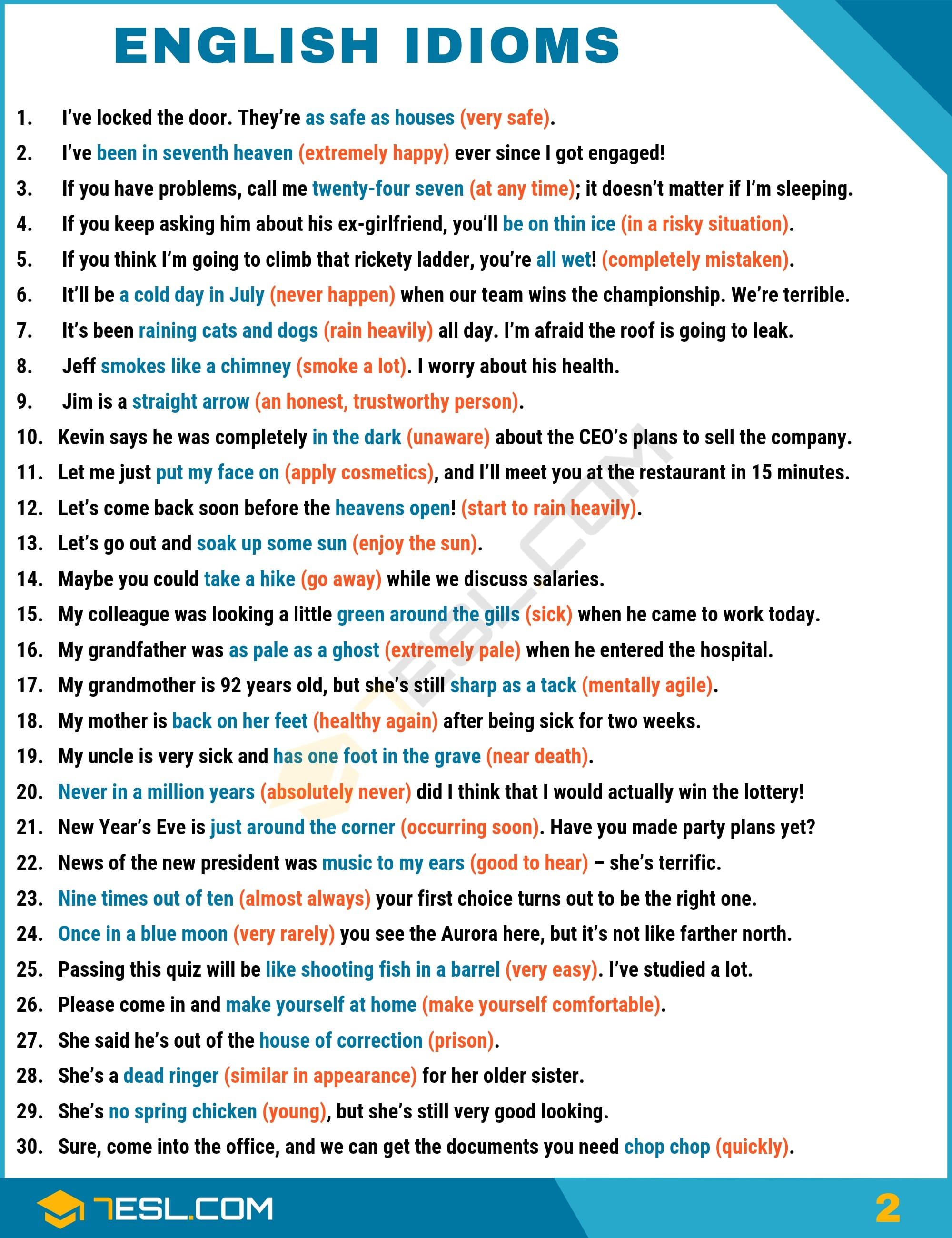 English Idioms Examples with Idiom Meaning | Image 2