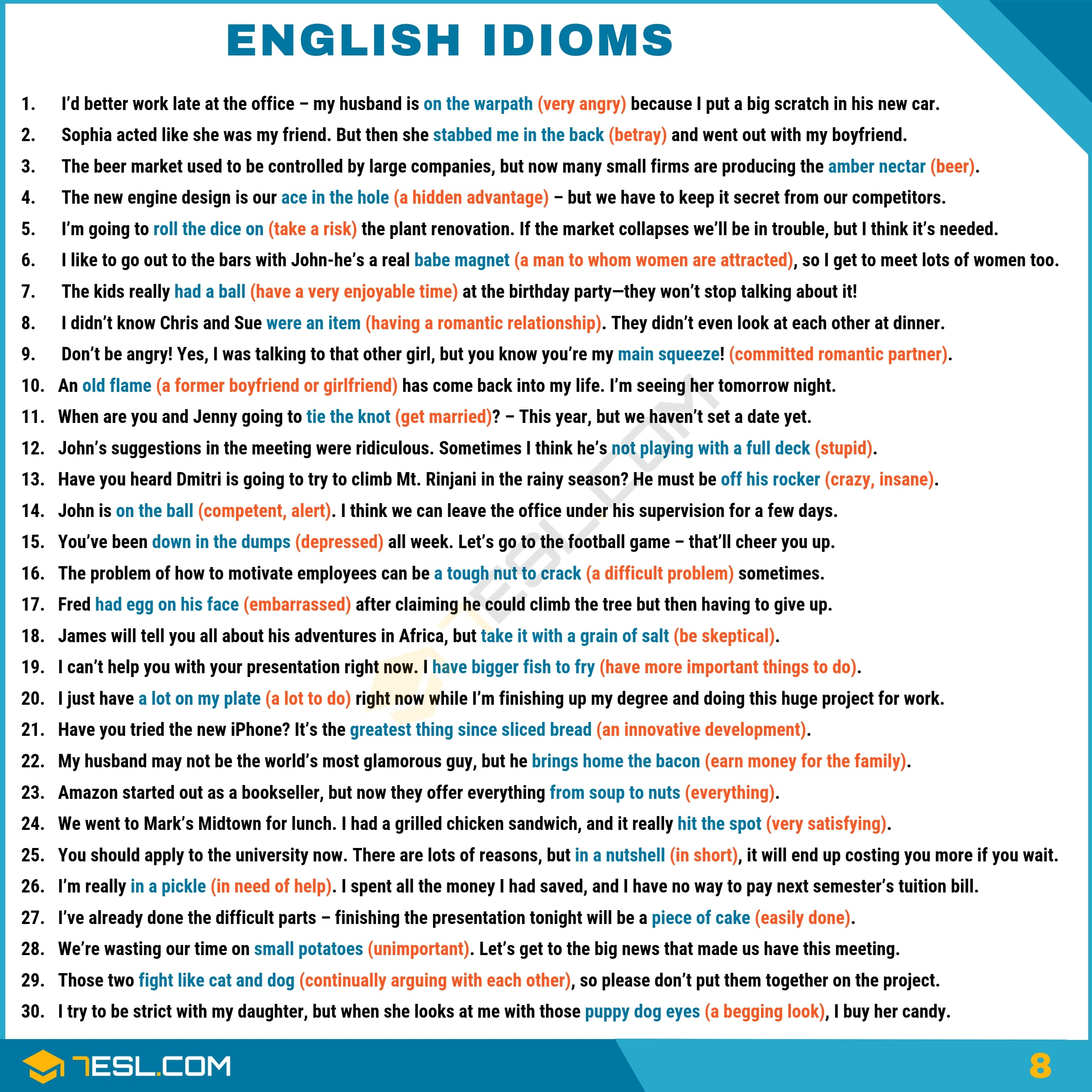 English Idioms Examples with Idiom Meaning | Image 8