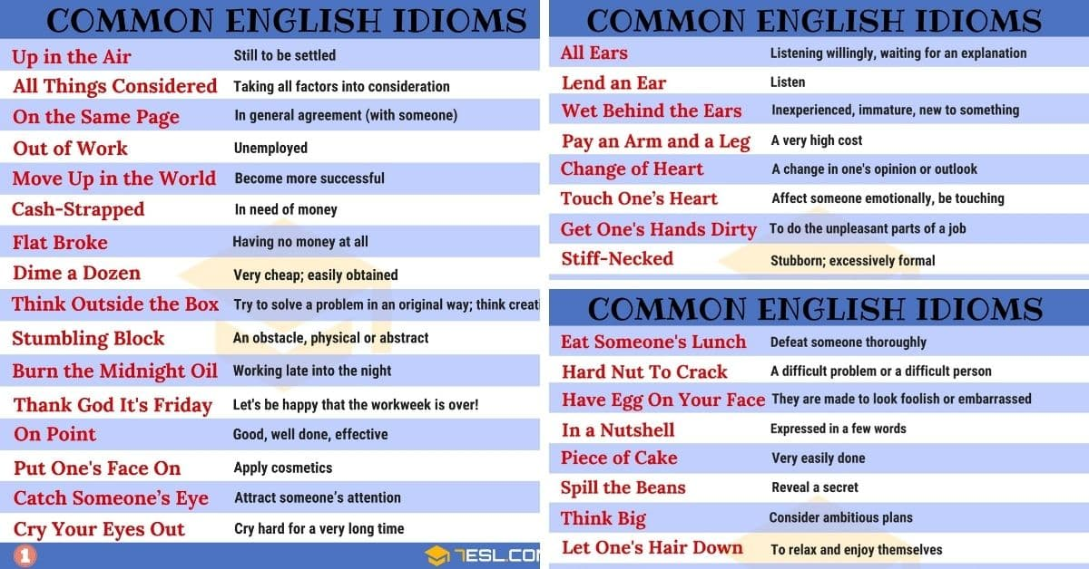 1500+ English Idioms from A-Z (with Useful Examples) 1
