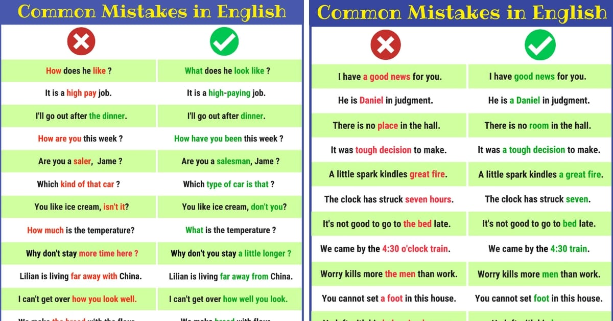 Grammatical Errors: 170+ Common Grammar Mistakes in English 2