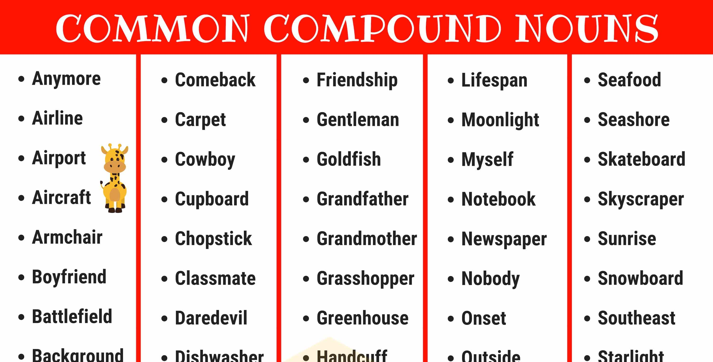 Compound Nouns: 110+ Common Compound Nouns in English 1