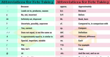 150+ Useful Symbols and Abbreviations For Note Taking 7