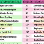 100+ Common English Teaching Abbreviations