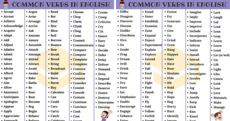700+ Most Common English Verbs List with Examples 105