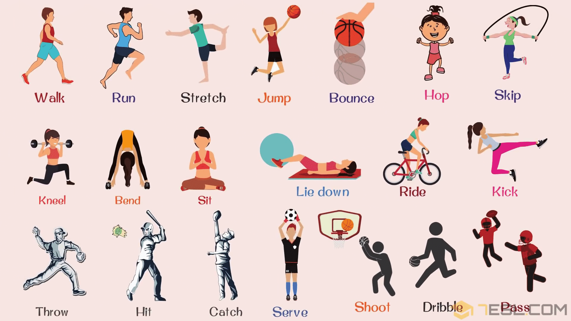 Sport Verbs List for Kids with Pictures