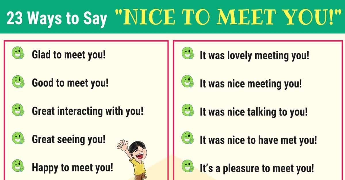 "23 Ways to Say ""NICE TO MEET YOU"" in English 1"