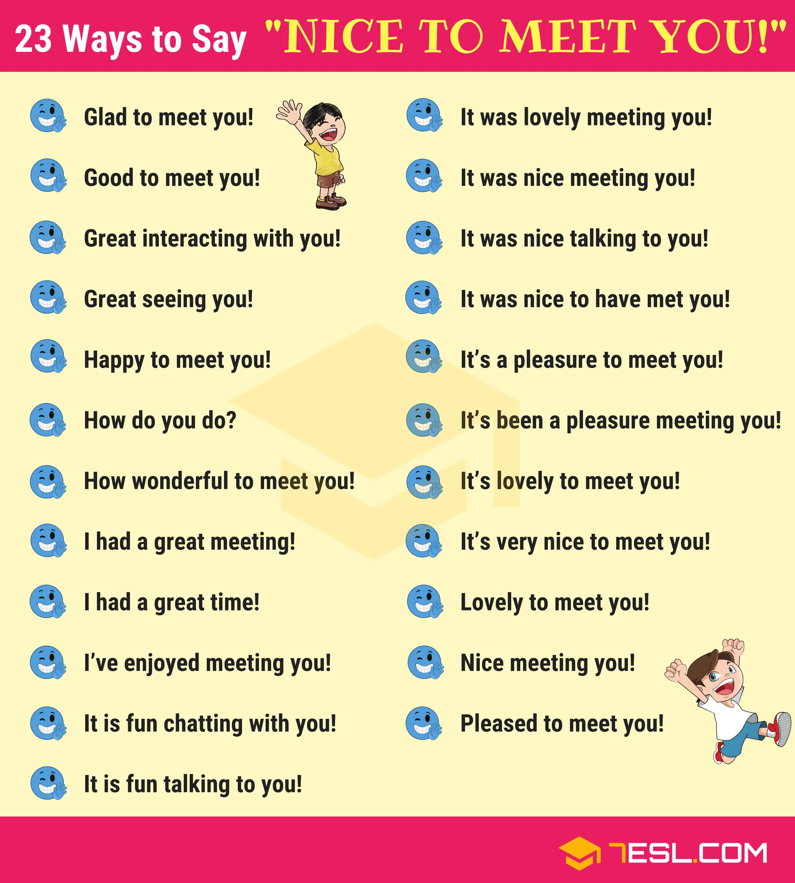 23 Ways To Say Nice To Meet You In English 7 E S L