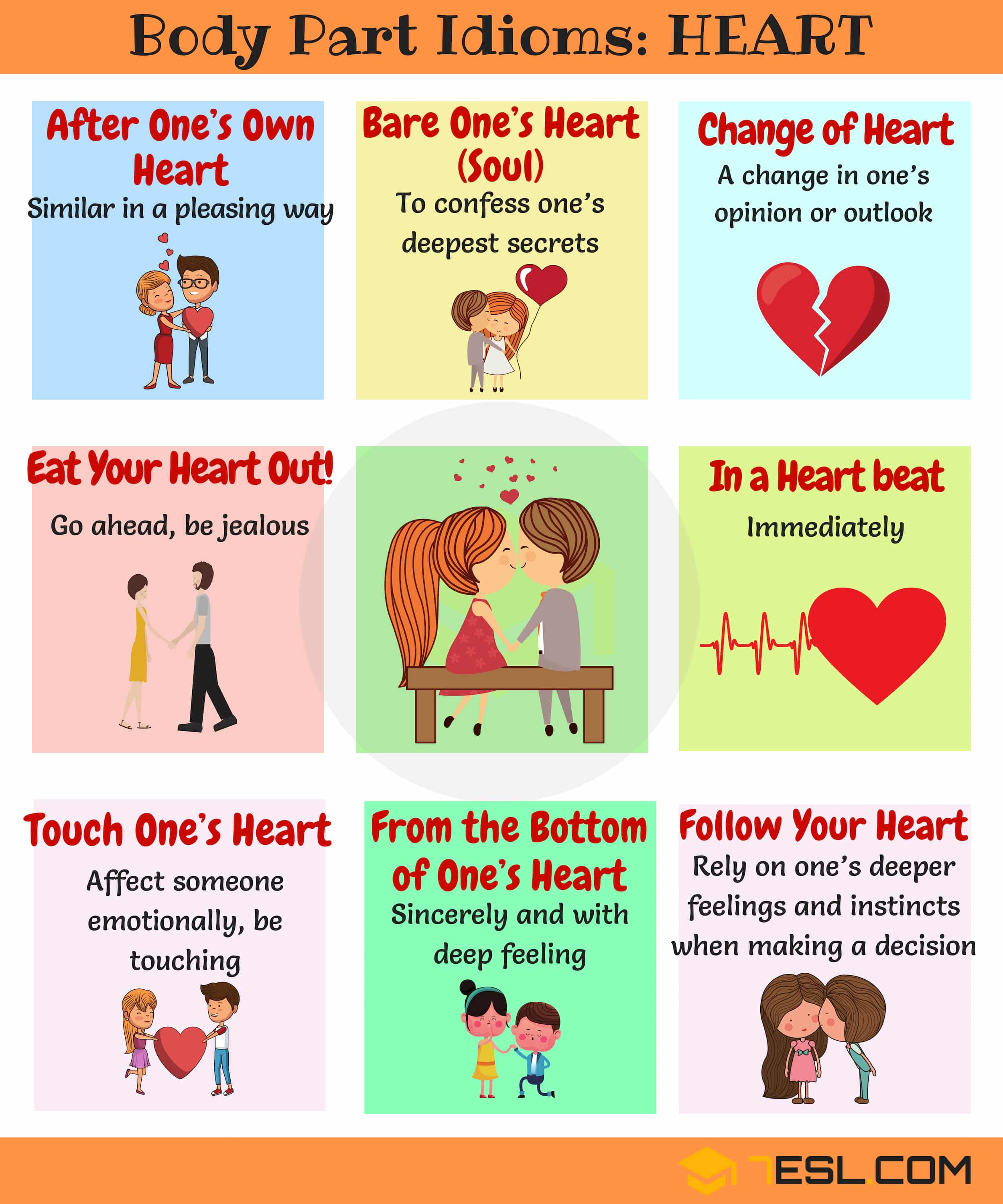 HEART Idioms: Common Idioms with Heart in English