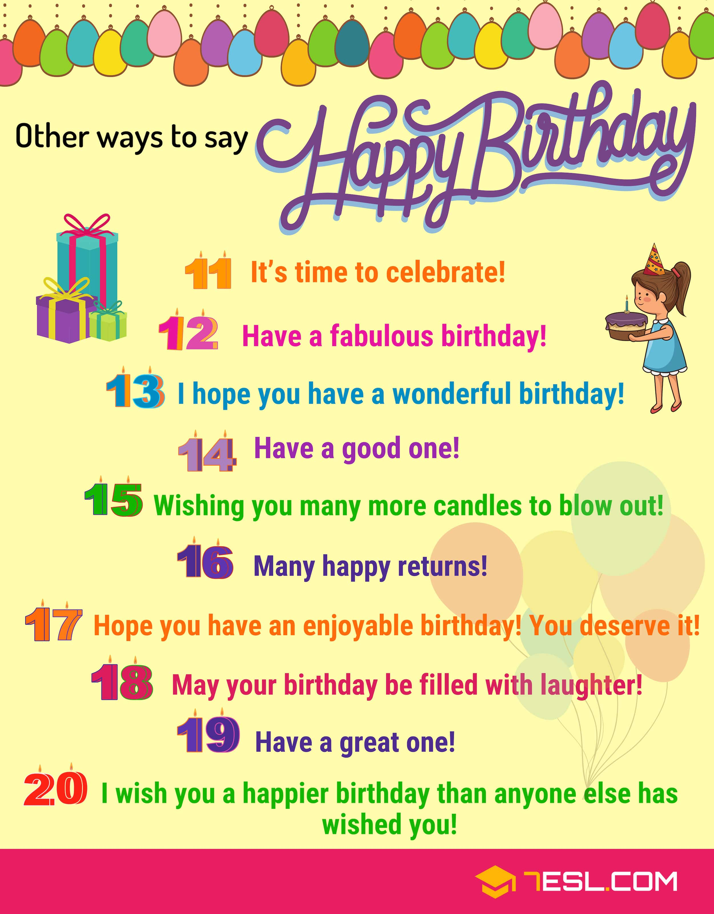 25 Cute Ways To Say Happy Birthday In English 7esl