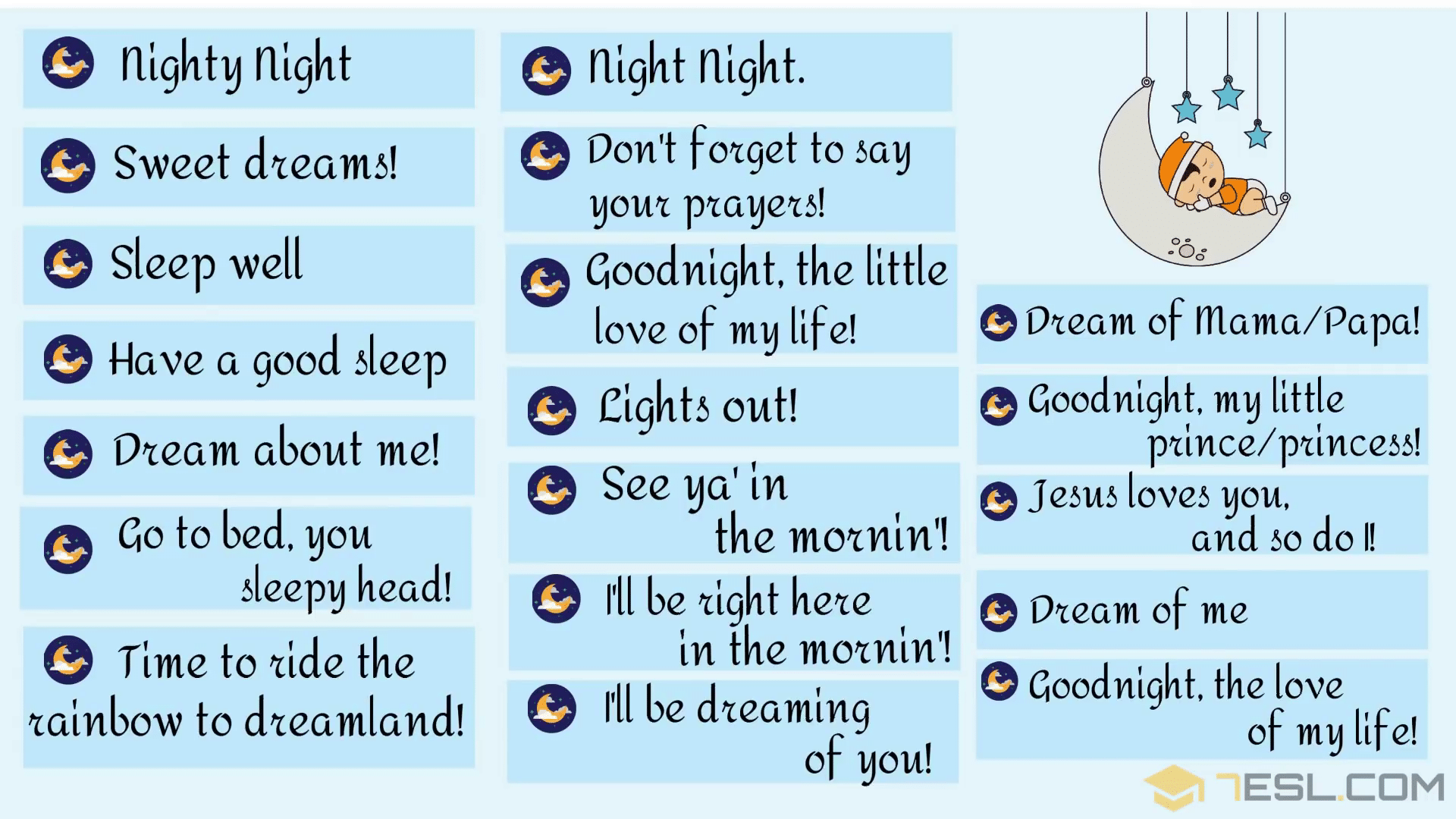 GOOD NIGHT Text: 30 Cute Ways to Say GOOD NIGHT