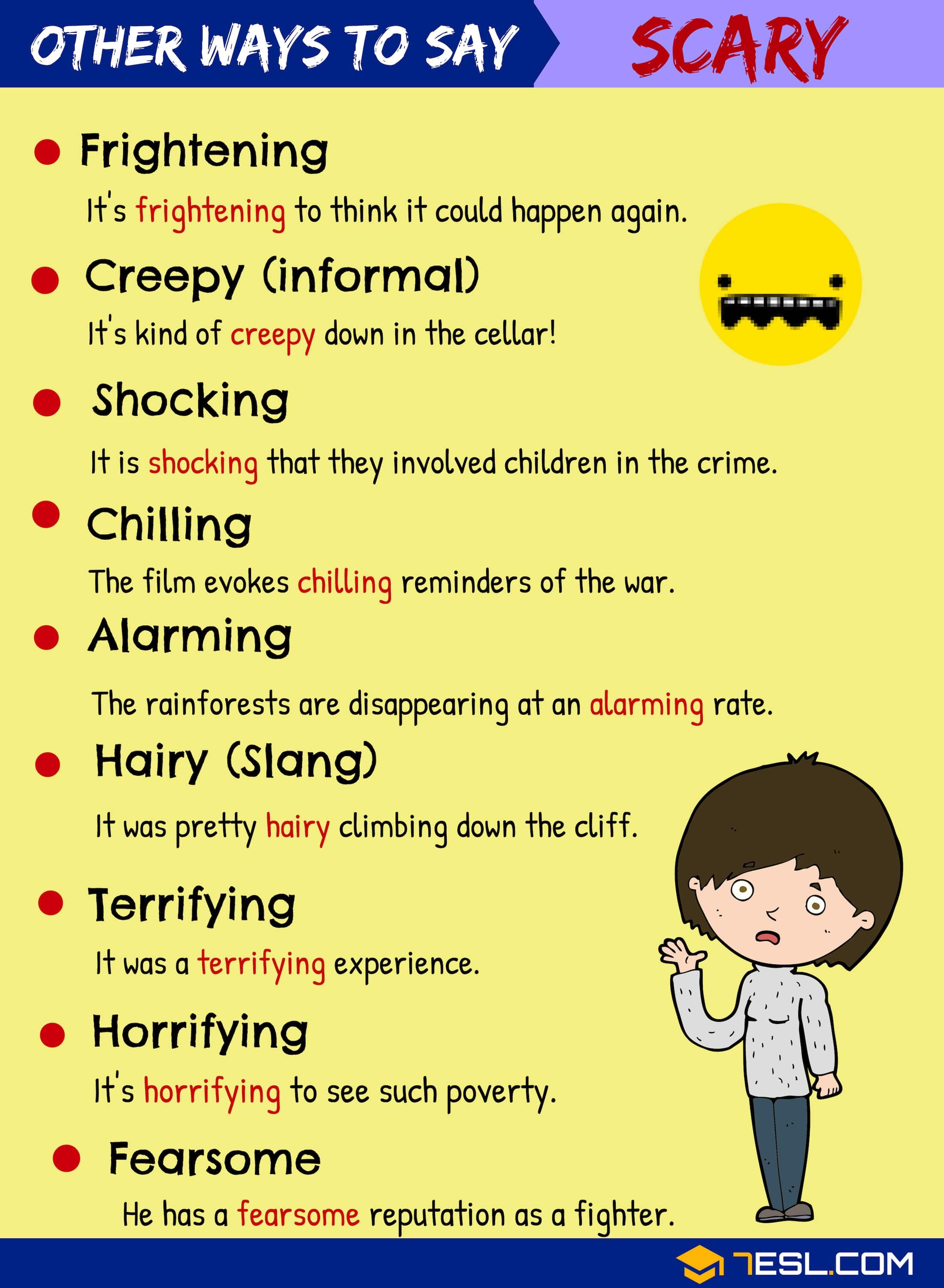SCARY Synonyms! In this lesson, you will learn different Synonyms for SCARY in English with example sentences to increase your vocabulary in English.