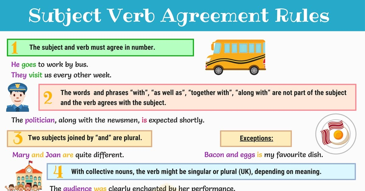 Subject Verb Agreement Rules and Examples 1
