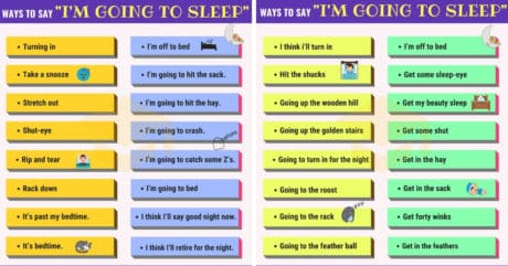 "Other Ways to Say ""I'm Going to Bed"""