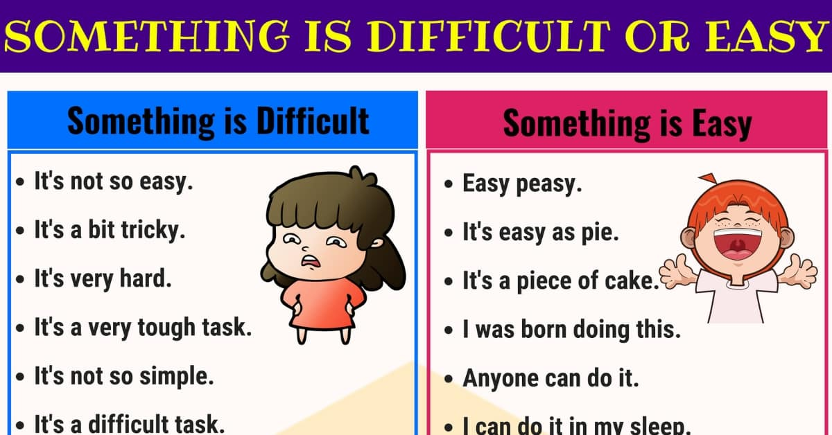 Other Ways to Say Something is EASY or DIFFICULT 1