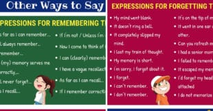 English Expressions for Remembering and Forgetting
