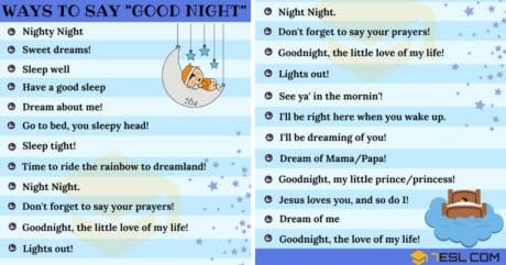 30 Cute Ways to Say GOOD NIGHT in English 1