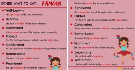 FAMOUS Synonyms: 12 Synonyms for FAMOUS in English 3