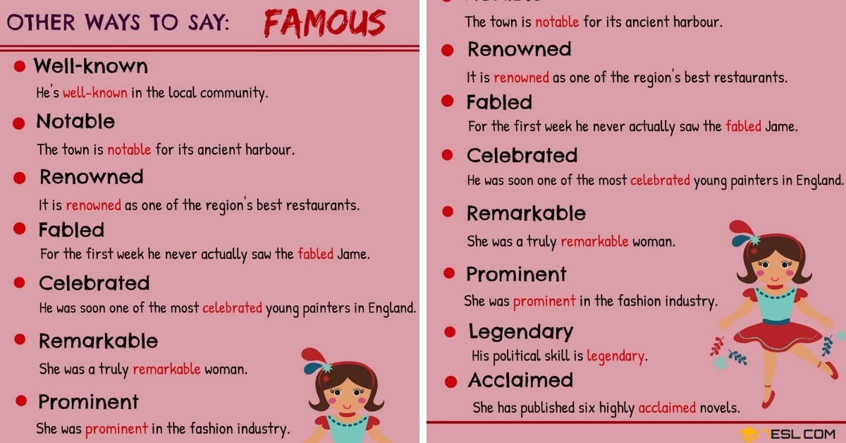 FAMOUS Synonyms: 12 Synonyms for FAMOUS in English 1