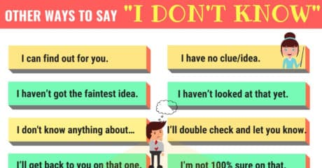 """40 Ways to Say """"I DON'T KNOW"""" in English 14"""