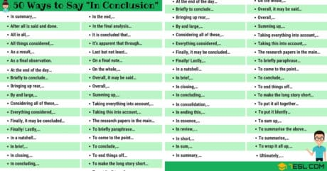 """50 Ways to Say """"IN CONCLUSION"""" in English 13"""