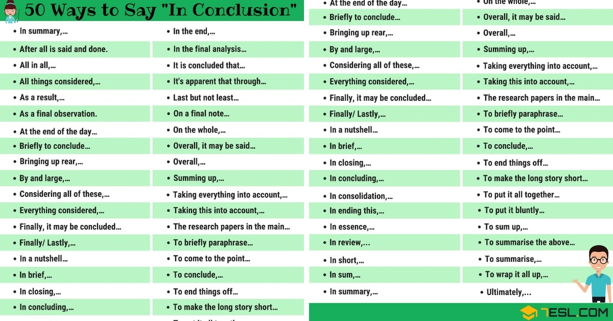 "50 Ways to Say ""IN CONCLUSION"" in English 1"