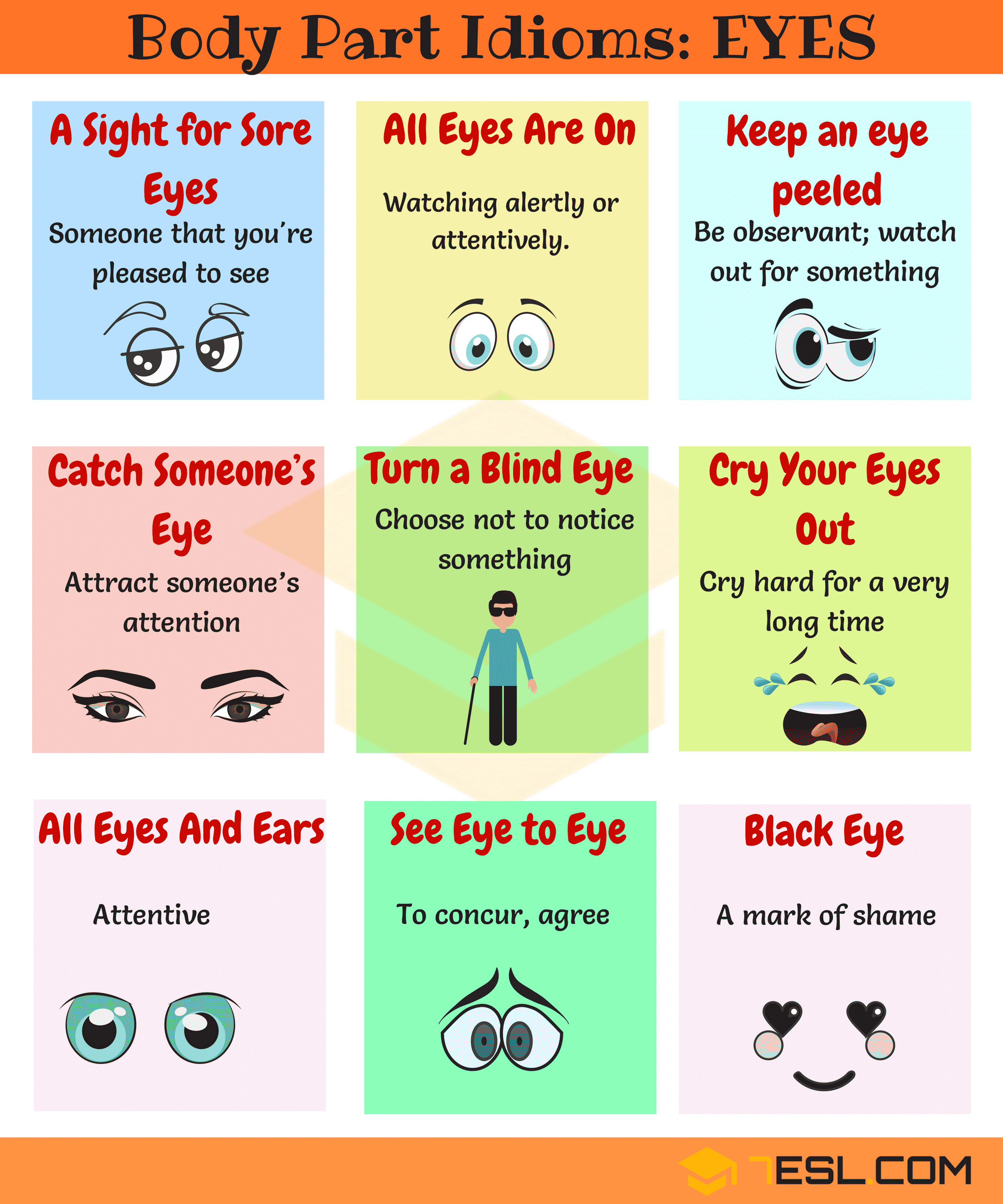 EYE Idioms! Learn Useful Idioms with EYES in English with meaning, example sentences and picture.